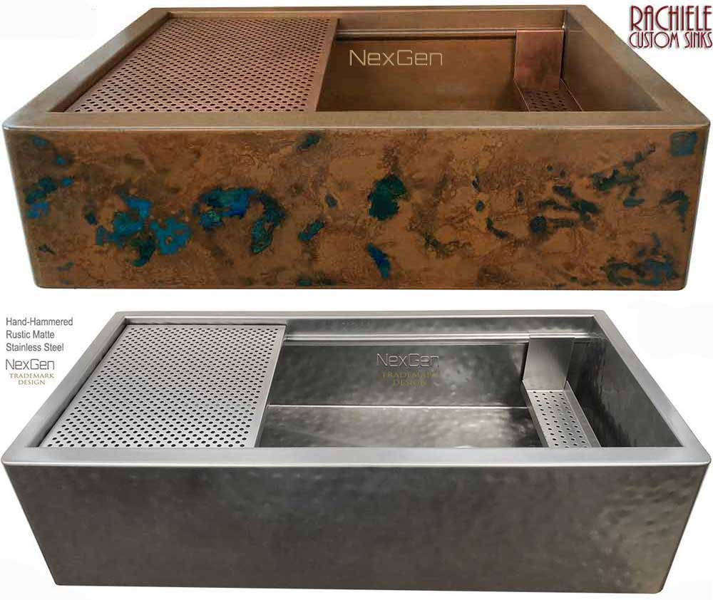 Copper Sinks: Workstation Sinks with cutting boards and copper grid ...