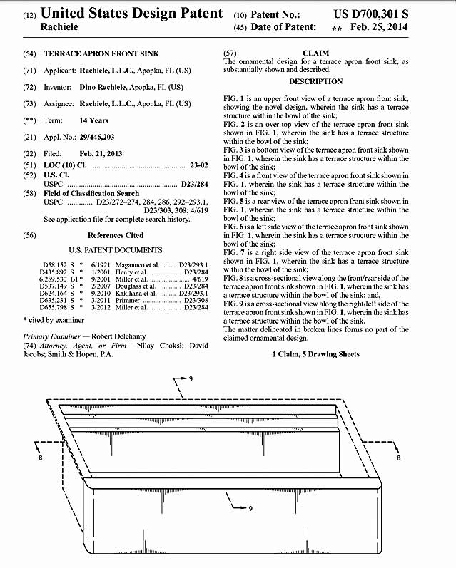 patent showing dual tier kitchen sink by Rachiele