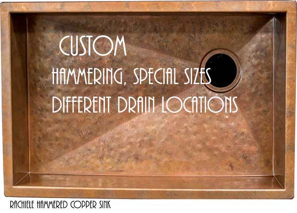 custom copper hammered under mount sink made in the usa