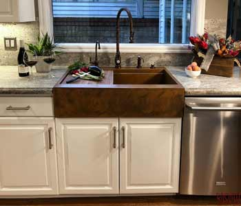 retrofit farm sink in existing cabinet
