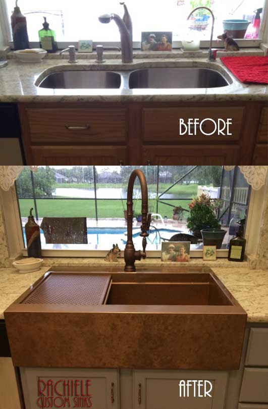Retrofit farmhouse copper sink