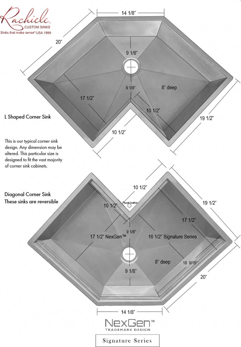 reversible single bowl corner sink specifications
