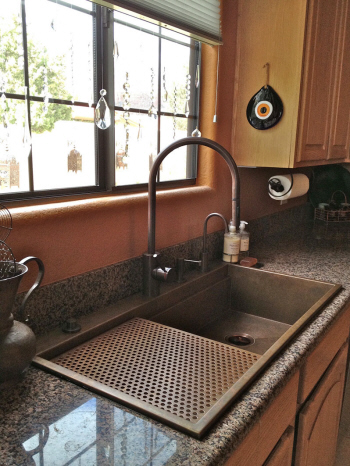 Close up photo of copper replacement retro fit sink