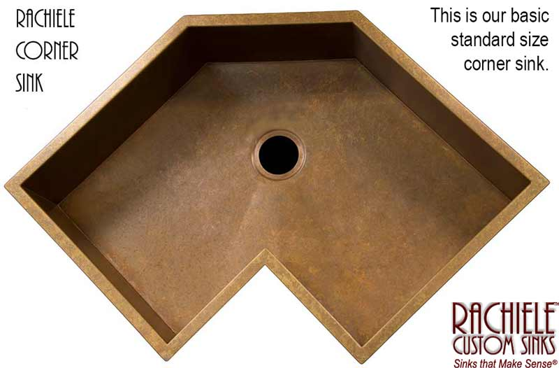 corner single bowl custom copper kitchen sink