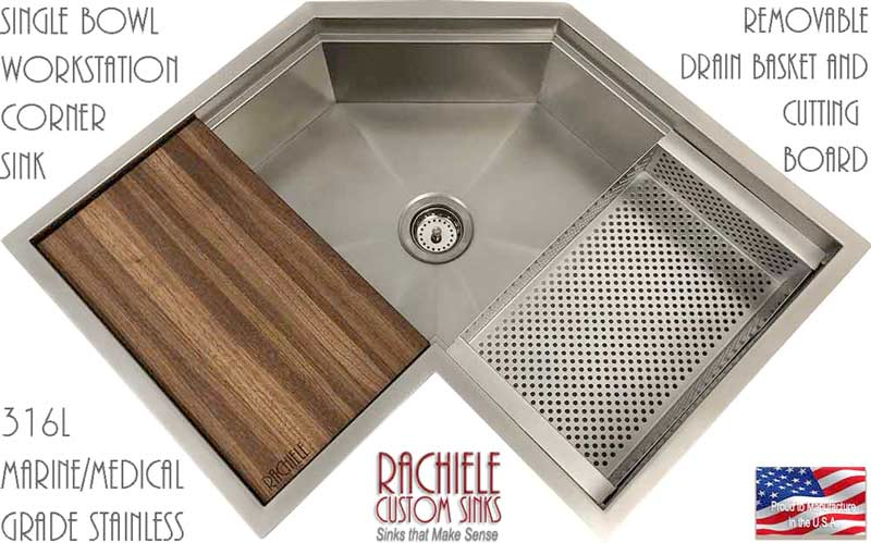 Corner Kitchen Sinks Available In Copper And Stainless Steel Single Bowl Design