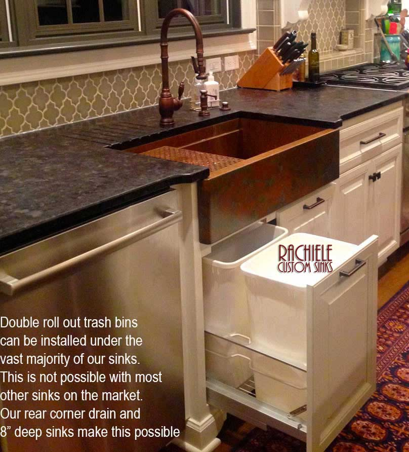 sink cabinet with double roll out trash mechanism behind door