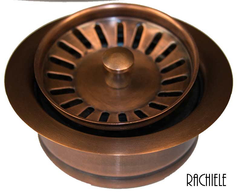 Solid copper sink disposal flange