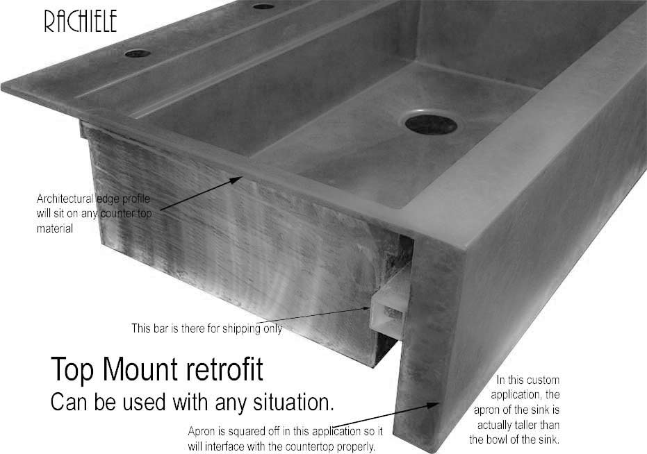 retrofit farmhouse top mount sink