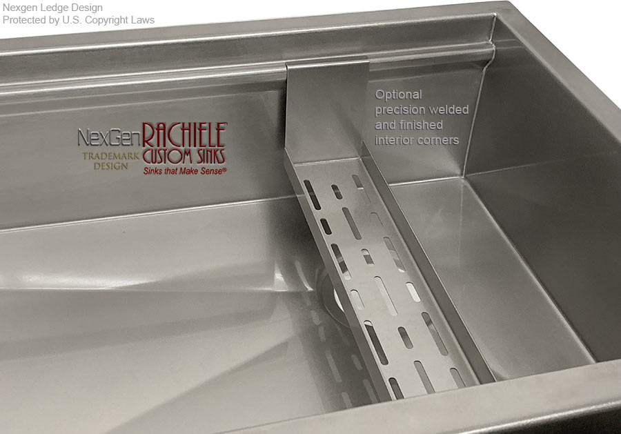 hand finished stainless custom sink with radius corners