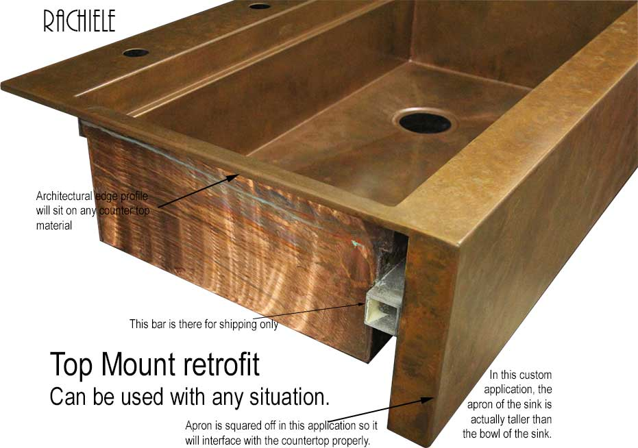 Retrofit copper apron farmhouse sinks Top Mount or Under Mount