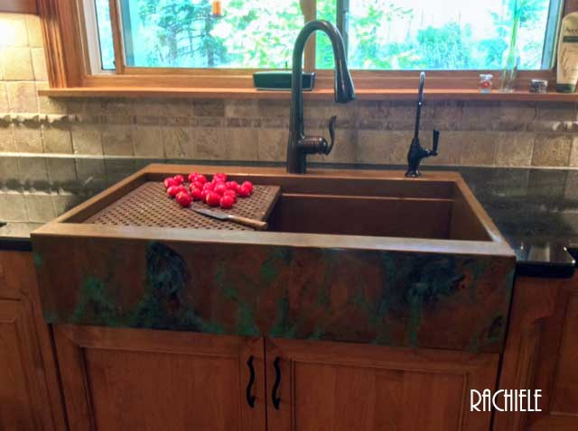 This Is A Retrofit Copper Top Mount Farmhouse Workstation Sink With A Rear  Deck For A Faucet, Etc. No Cutting Was Required On The Cabinetry.