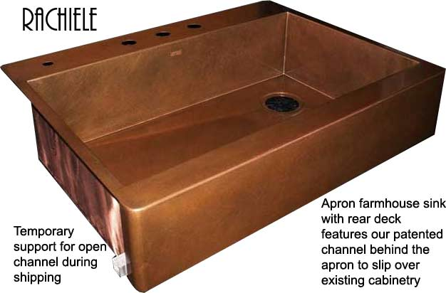 Top mount copper apron front farmhouse sink with channel to slip over existing cabinet faceframe for retrofitting