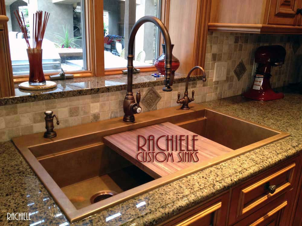 Rachiele custom top mount retrofit workstation copper sinks for Rachiele sink complaints
