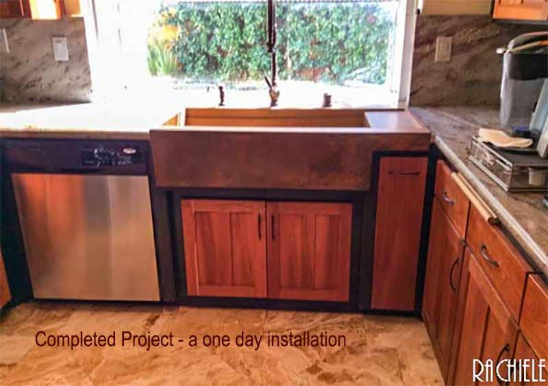 Top mount retrofit copper workstation farm sink with drainboard