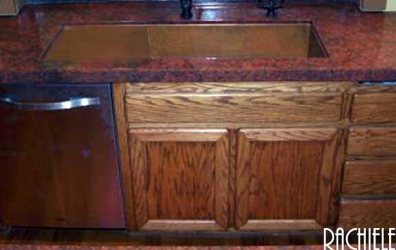 under mount copper sink with drain board