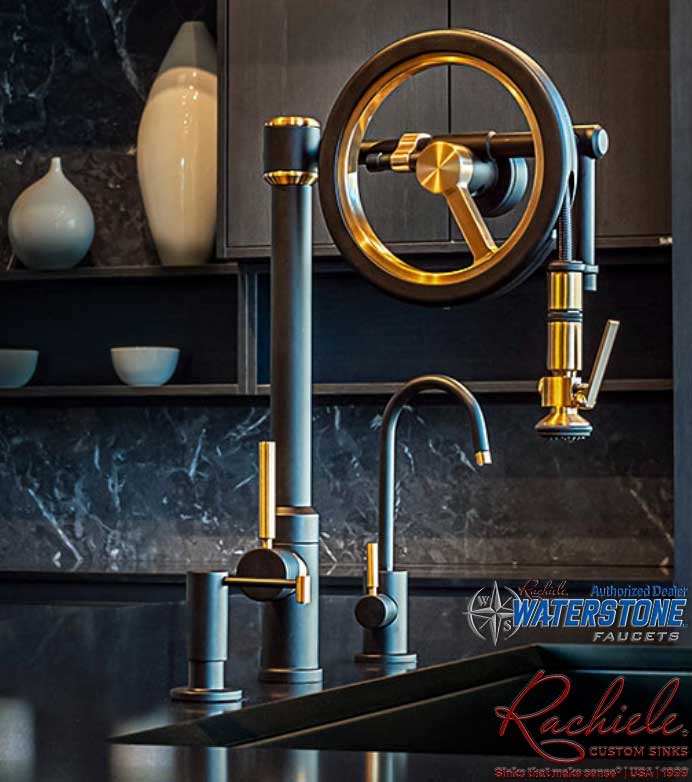 Waterstone Endeavor wheel faucet split finish