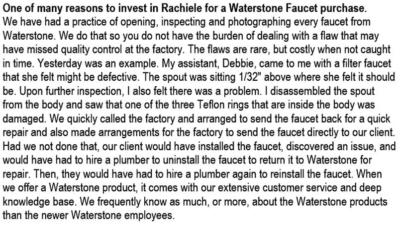 why invest in Rachiele for waterstone faucets