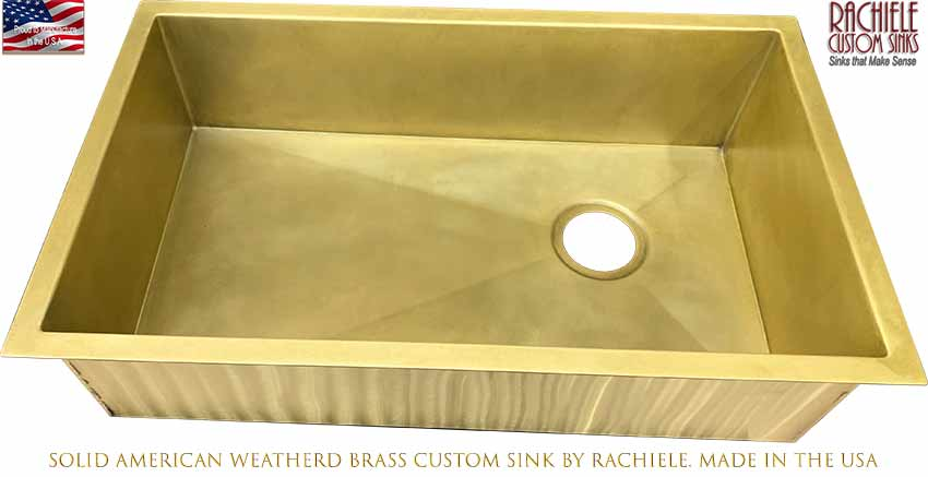 Custom Brass Kitchen Sinks, made in the USA by Rachiele