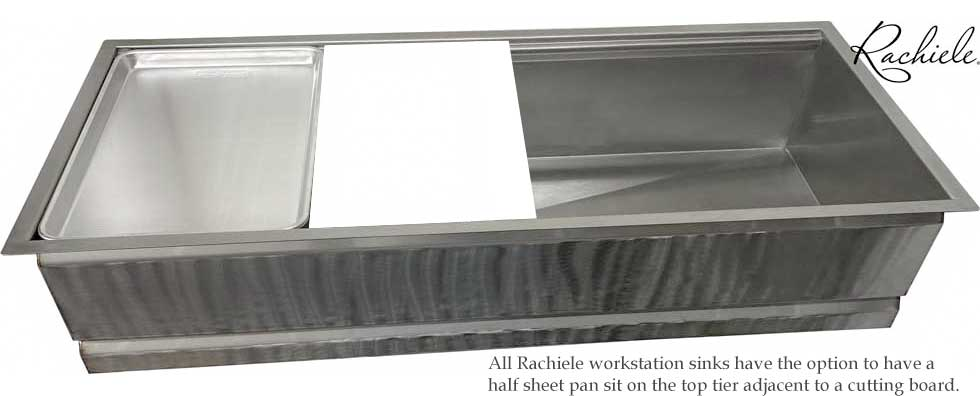 workstation sink will fit half sheet pan and cutting board